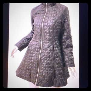 Kate Spade ♠️ Black A-Line  Quilted Coat w/ Bow